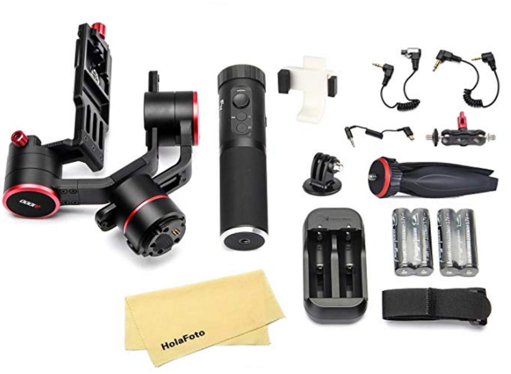 An image of all of the equipment that comes included as standard in the box of the Feiyutech A1000 for our review of the product.
