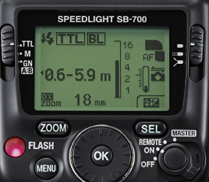The interface menu for the SB-700 that you can use on your Nikon d3200.