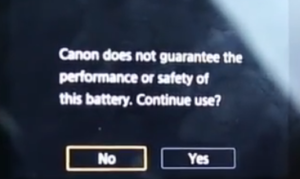 Canon G7X warning message when using a third-party battery.