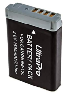 A close up of the UltraPro NB-13L battery for Canon G7X cameras.