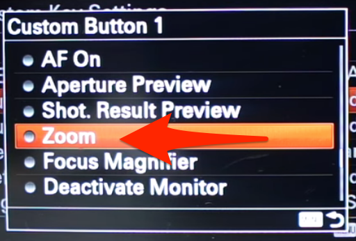 Confirming your Clear Image Zoom button selection for your Sony A6000.