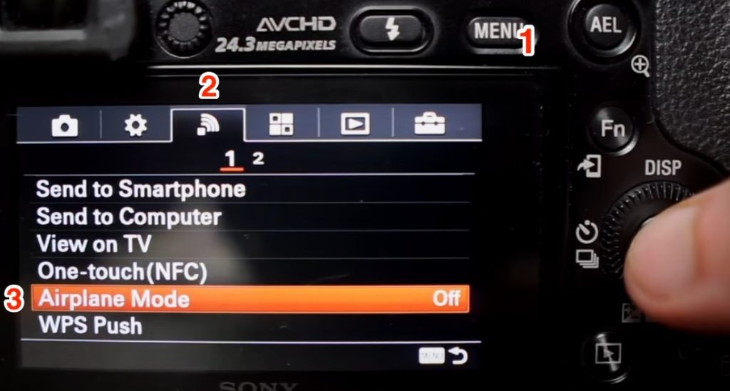 Using airplane mode to improve battery life on a Sony A6000.