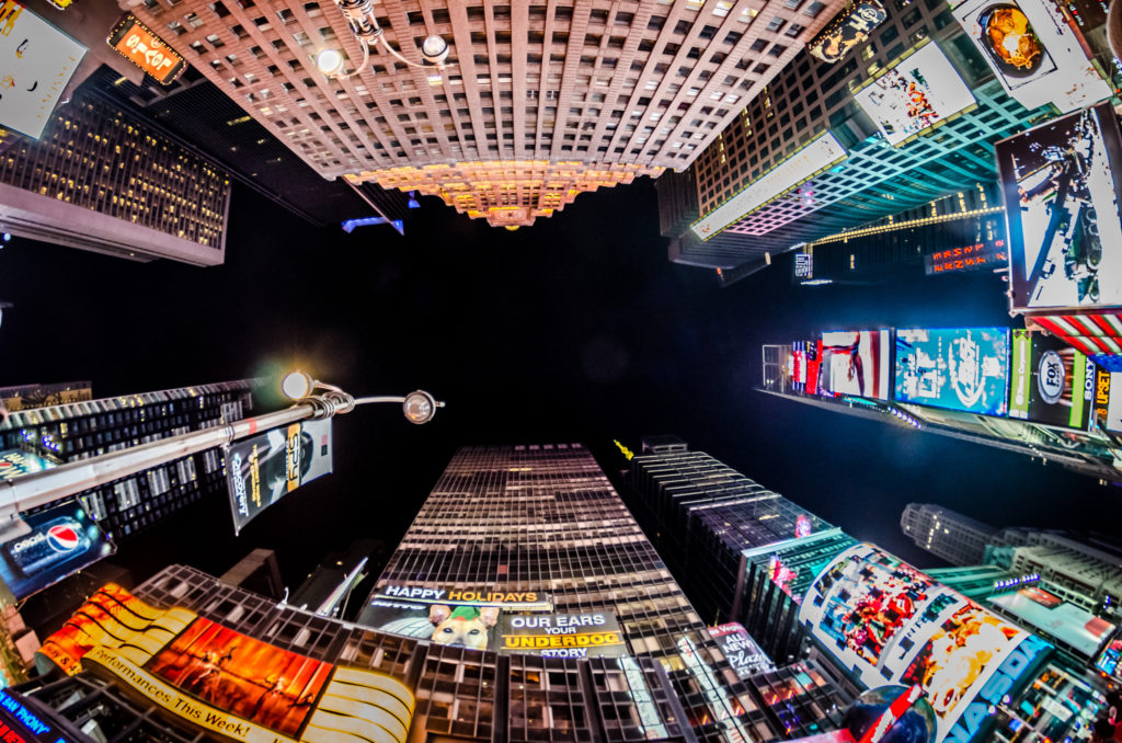 An example photograph of Times Square taken with a 12mm fisheye lens. This is the type of image you can expect when using the Rokinon 8mm on your Sony a6000.