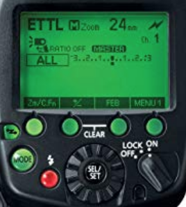 The Canon 600EX-RT control system and user interface.