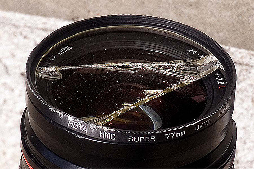 Although the photograph shows a Hoya UV filter, it still shows how having a lens filter mounted on your lens can take all the damage during an accident. The front lens element of the lens was fine and the filter was replaced at the fraction of the cost that it would cost to replace the full lens.