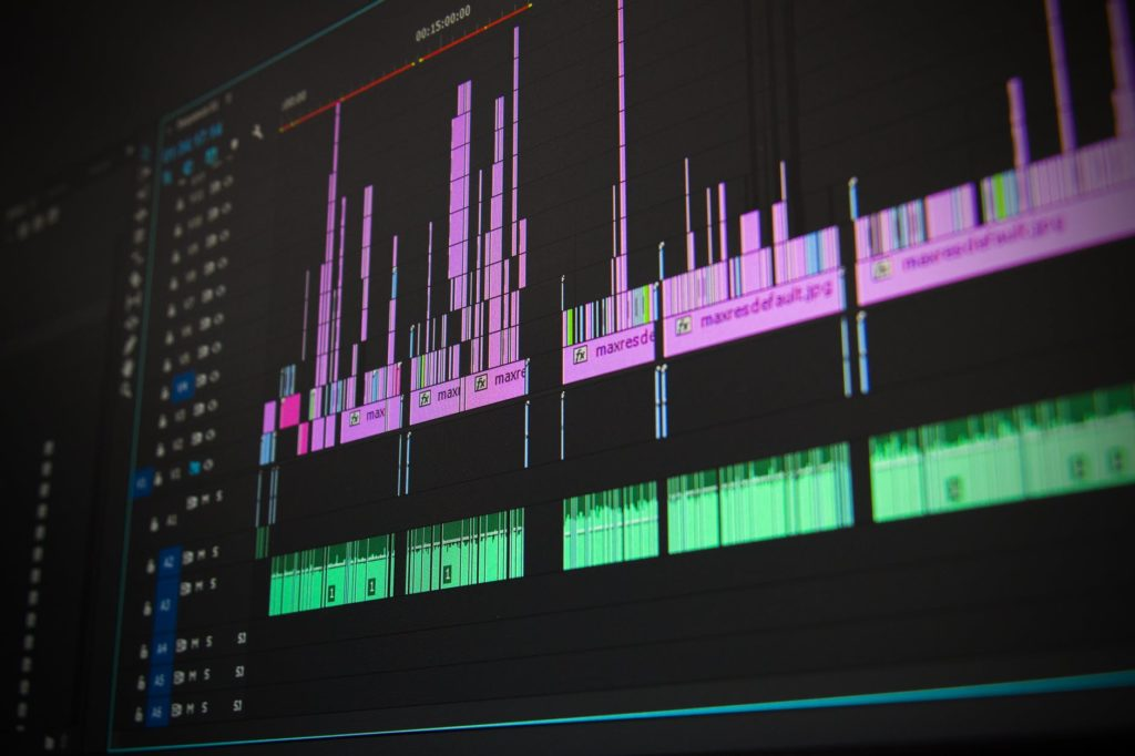 The video track for prerecorded footage being edited in post production.