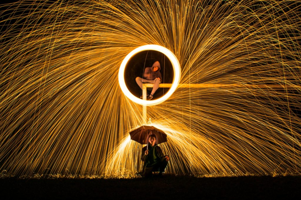 A night photograph using steel wool to make an other wise boring image interesting.