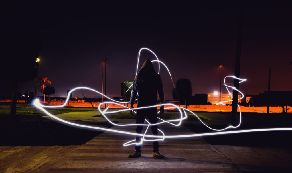 An example of the type of images you are able to create when light painting.